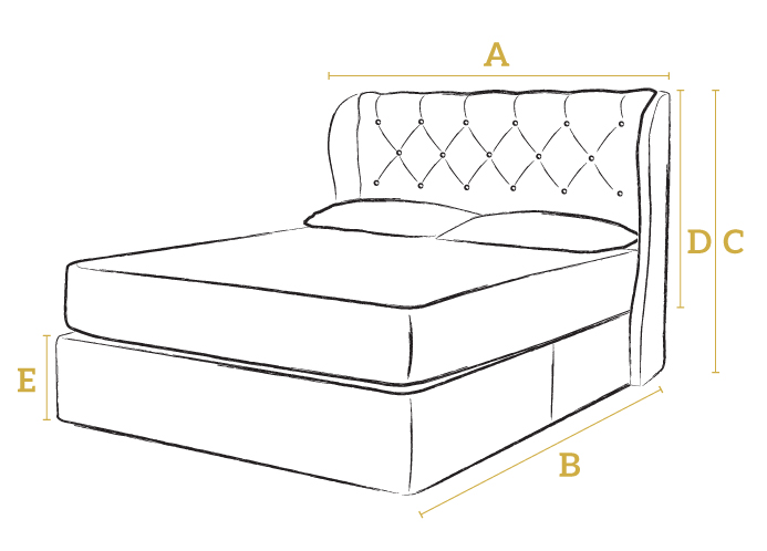 Camelia king size ottoman bed button sprung for Divan bed height